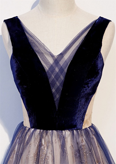 Affordable Tulle V-Neck Sleeveless Beading Prom Dresses with Appliques Online_5