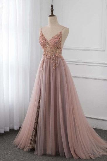 BMbridal Elegant Tulle Spaghetti Straps Appliques Prom Dresses with Front Slit Online_4