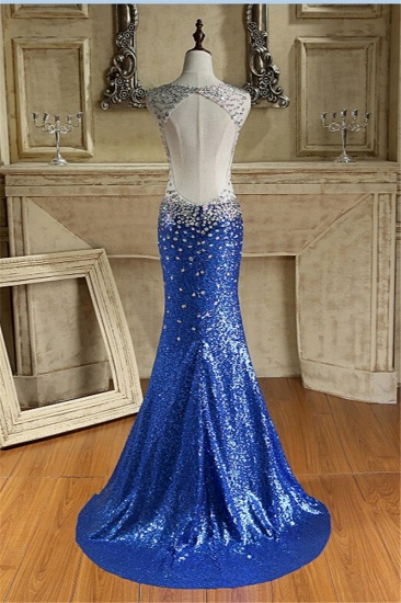 Sparkly Sequined V-Neck Royal Blue Prom Dresses with Beadings_3