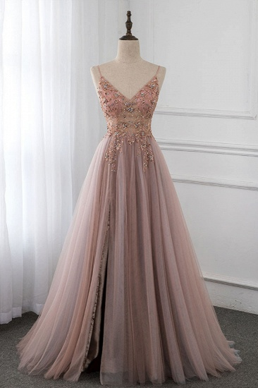Elegant Tulle Spaghetti Straps Appliques Prom Dresses with Front Slit Online