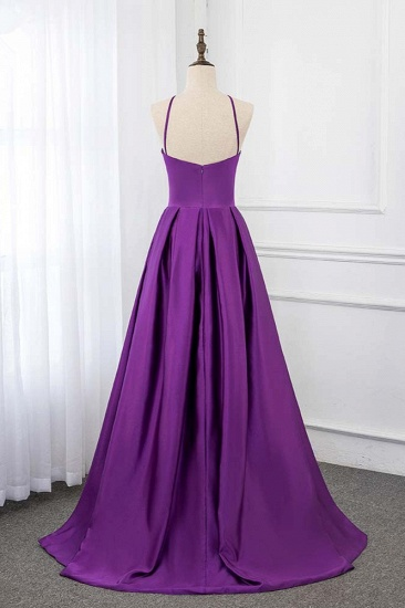 BMbridal Chic Satin Spaghetti Straps Sleeveless Long Prom Dresses with Ruffle Online_3