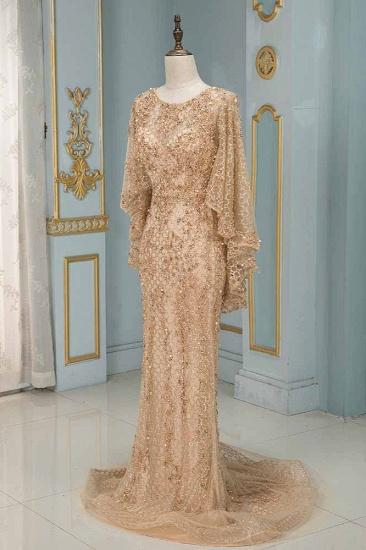 Elegant Jewel Long Sleeves Mermaid Prom Dresses with Appliques Beadings_1