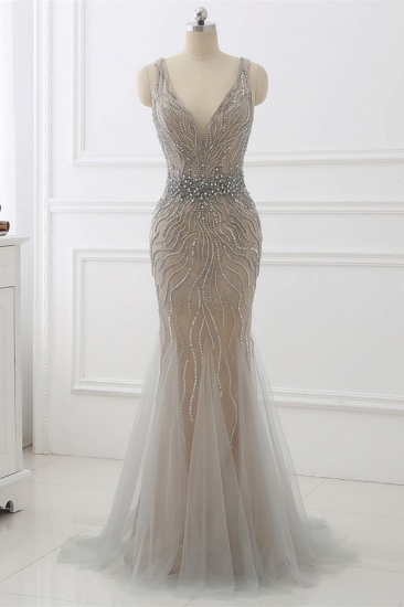 BMbridal Elegant Strap V-Neck Sleeveless Mermaid Prom Dresses with Beadings Ruffles_1