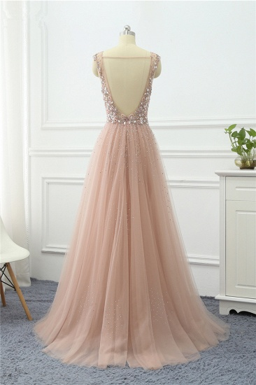 BMbridal Elegant Tulle V-Neck Ruffle Beadings Prom Dresses with Appliques_3
