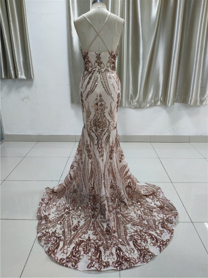 BMbridal Glamorous V Neck Sleevless Affordable Prom Dresses With Appliques Spaghetti Straps_3