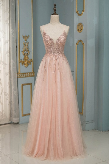 Elegant Tulle Spaghetti Strap V-Neck Pink Prom Dress with Beading Appliques