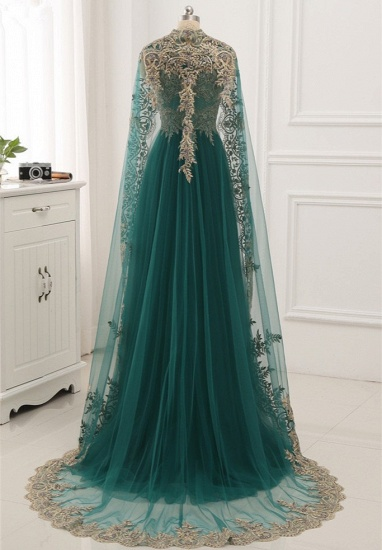 Elegant Tulle Jewel Beading Appliques Prom Dresses with Ruffles Online_7