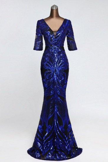 Gorgeous Sequined V-Neck Mermaid Prom Dresses with Half Sleeves Online_2