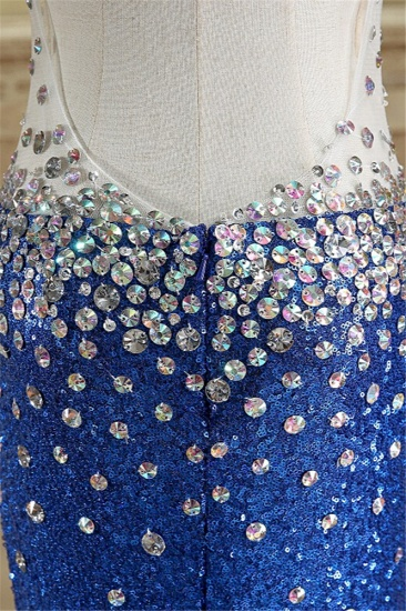 Sparkly Sequined V-Neck Royal Blue Prom Dresses with Beadings_6