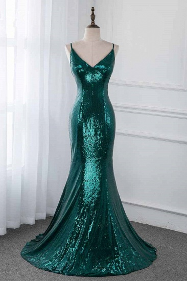 Sparkly Sequined Spaghetti Straps V-Neck Prom Dresses with Backless Online
