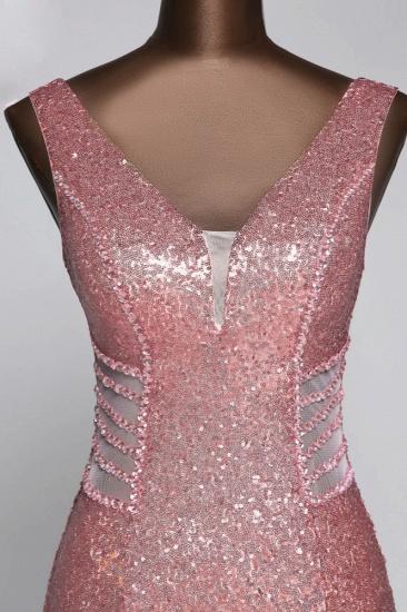 BMbridal Affordable V-Neck Pink Mermaid Prom Dresses with Front-Slit Online_7