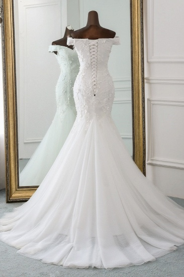 BMbridal Gorgeous Tulle Sweetheart Long Mermaid Wedding Dresses with Lace Online_3