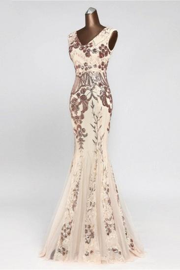 Glamorous Sequined Sleeveless Long Mermaid Prom Dresses Online_5
