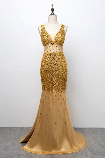 Glamorous Straps V-Neck Gold Mermaid Prom Dresses with Beadings Online