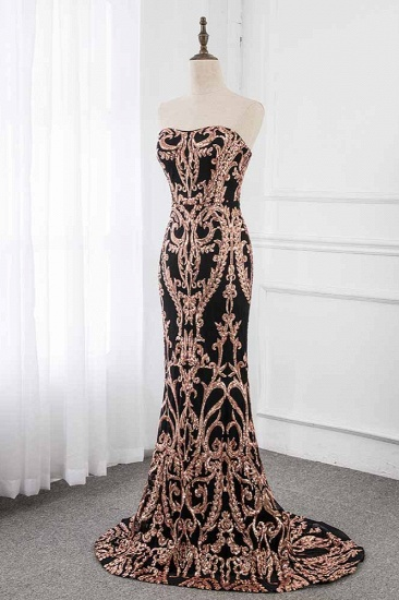 Glamorous Strapless Sleeveless Prom Dress with Glod Appliques Online_4