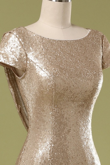 Sparkly Sequined Jewel Sheath Prom Dress with Short Sleeves and Draped Back_7