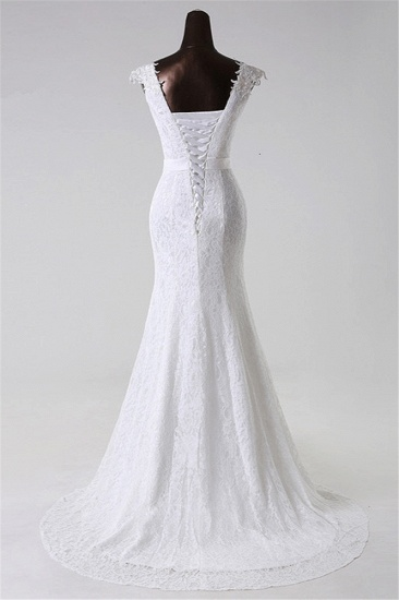 BMbridal Gorgeous Lace Jewel Mermaid White Wedding Dresses with Appliques Online_3