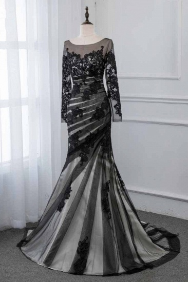 BMbridal Elegant Tulle Jewel Appliques Prom Dresses with Long Sleeves Online_4