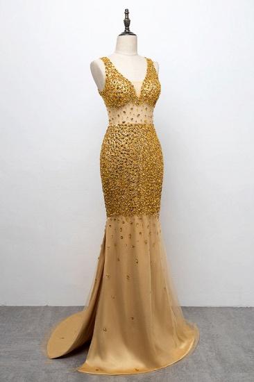 BMbridal Glamorous Straps V-Neck Gold Mermaid Prom Dresses with Beadings Online_4