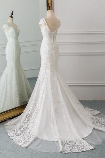 Elegant Lace Cap-Sleeves Sweetheart Mermaid Wedding Dresses Online_5