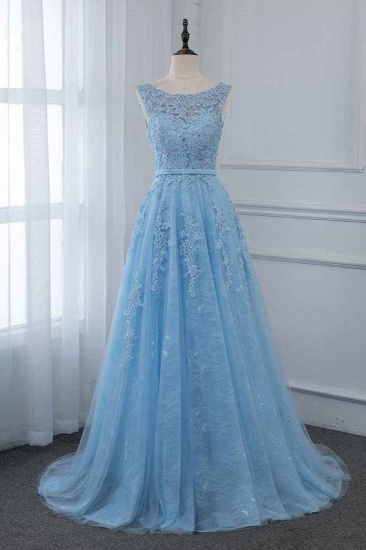 Affordable Jewel Sleeveless A-line Prom Dresses with Lace Online