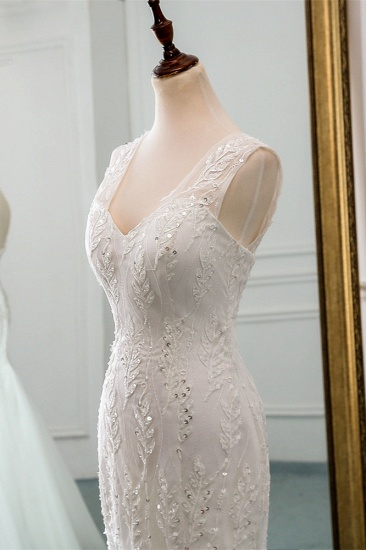 Affordable V-Neck Appliques Mermaid Wedding Dresses with Beadings Online_6