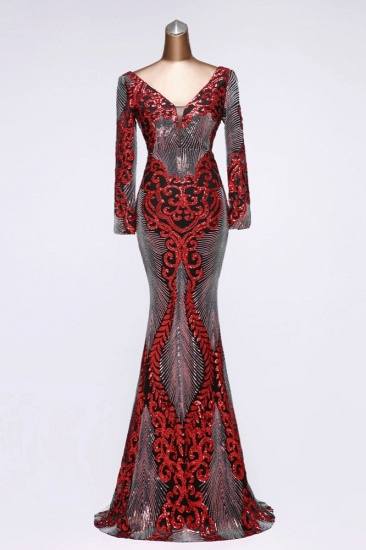 Sparkly Sequined V-Neck Mermaid Long Prom Dresses with Long Sleeves Online_1