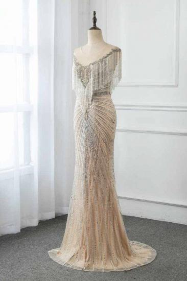 BMbridal Luxury Tulle Jewel Beadings Mermaid Prom Dresses with Tassels Online_4