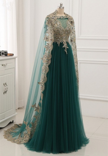 Elegant Tulle Jewel Beading Appliques Prom Dresses with Ruffles Online_5