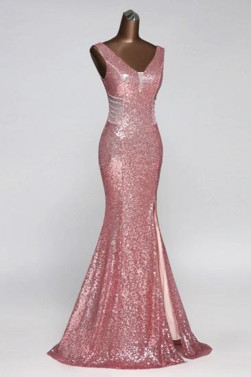 BMbridal Affordable V-Neck Pink Mermaid Prom Dresses with Front-Slit Online_5