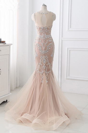 BMbridal Affordable Tulle Jewel Sleeveless Mermaid Prom Dress with Appliques_3