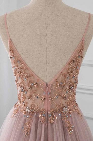 BMbridal Elegant Tulle Spaghetti Straps Appliques Prom Dresses with Front Slit Online_7