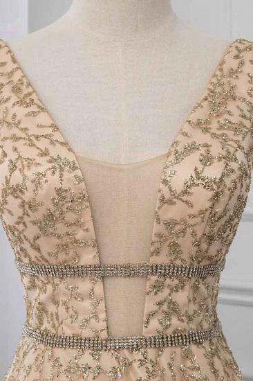 BMbridal Glamorous V-Neck Sleeveless Appliques Prom Dresses with Beadings Online_5