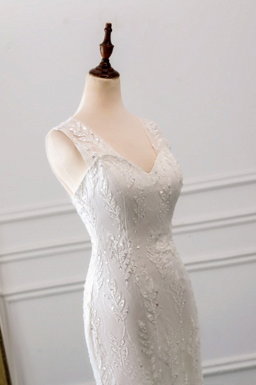 Affordable V-Neck Appliques Mermaid Wedding Dresses with Beadings Online_7
