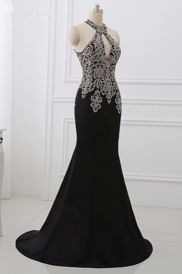 Chic High-Neck Sleeveless Black Mermaid Prom Dresses with Appliques Beadings_6
