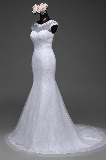 Glamorous Lace Jewel White Mermaid Wedding Dresses with Beadings Online_4