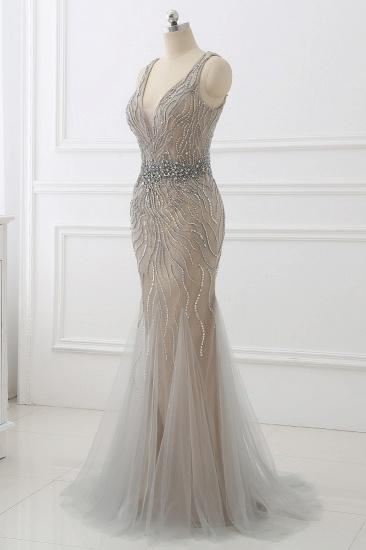 BMbridal Elegant Strap V-Neck Sleeveless Mermaid Prom Dresses with Beadings Ruffles_4
