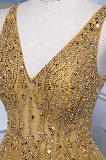 BMbridal Glamorous Tulle Straps V-Neck Ruffle Prom Dresses with Beadings Online_6
