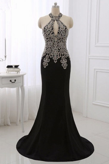 Chic High-Neck Sleeveless Black Mermaid Prom Dresses with Appliques Beadings_3
