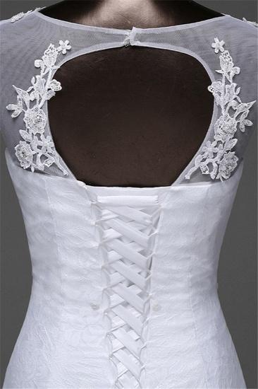 Glamorous Lace Jewel White Mermaid Wedding Dresses with Beadings Online_9