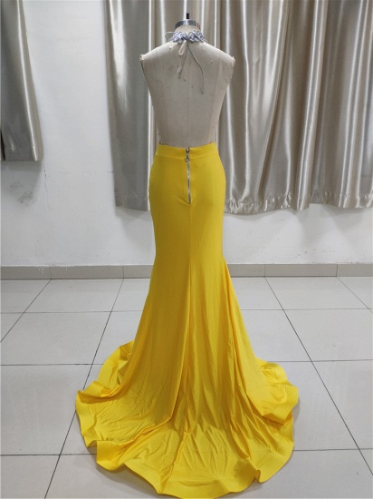 BMbridal Sexy Yellow High Neck Ruffle Prom Dress Affordable with Backless Online_3