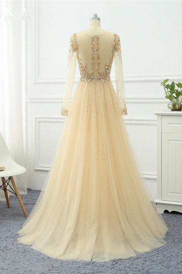 Elegant V-Neck Long Sleeves Appliques Beadings Prom Dresses with Overskirt_12