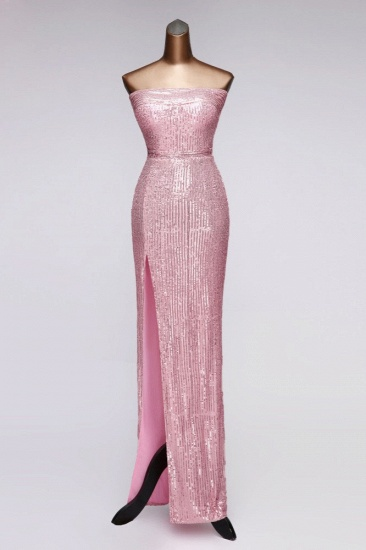 Chic Strapless Front Slit Sheath Prom Dresses with Sequins Online_1