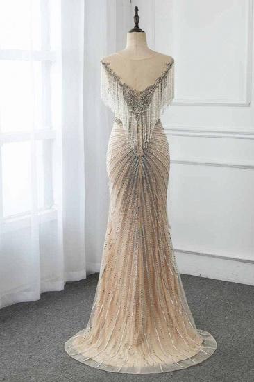 BMbridal Luxury Tulle Jewel Beadings Mermaid Prom Dresses with Tassels Online_3