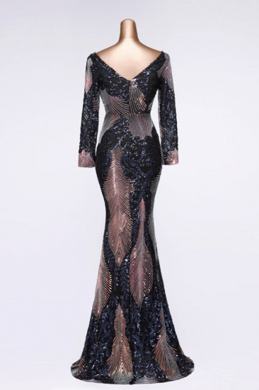 Sparkly Sequined V-Neck Mermaid Long Prom Dresses with Long Sleeves Online_10