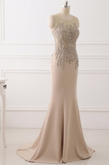 Elegant Jewel Sleeveless Mermaid Prom Dresses with Pearls Online_4
