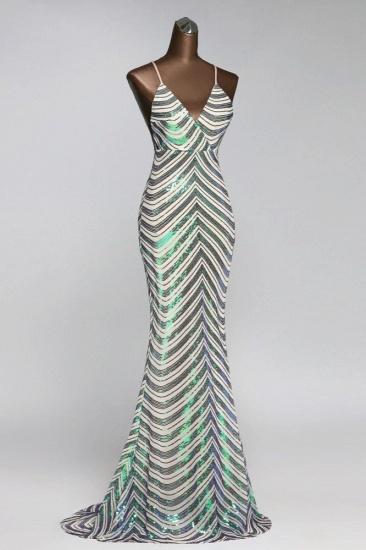 Sparkly Stripe Sequins Mermaid Long Prom Dresses with Spaghetti Straps_5