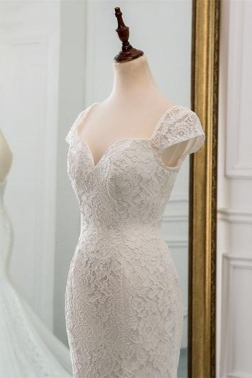 BMbridal Elegant Lace Cap-Sleeves Sweetheart Mermaid Wedding Dresses Online_6