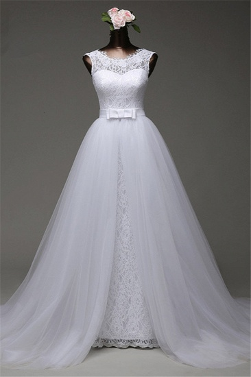 BMbridal Chic Tulle Lace Jewel Mermaid Wedding Dresses with Overskirt Online_1