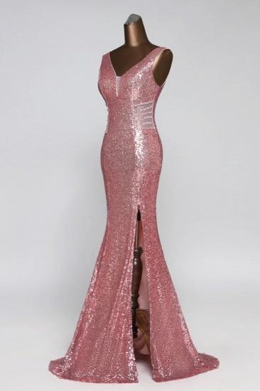 BMbridal Affordable V-Neck Pink Mermaid Prom Dresses with Front-Slit Online_6